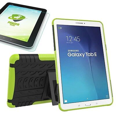 Hybrid Outdoor Bag Green for Samsung Galaxy Tab E 9.6 T560 +0.4 Tempered Glass