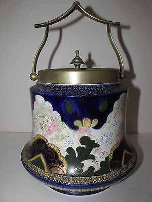 Antique English Biscuit Jar with Lid, near excellent, ca. 1897