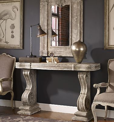 New Vintage Carved Style Console Sofa Table Gray Stone Finish Aged Ivory Wash
