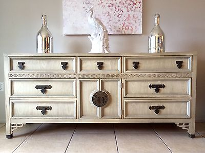 Vintage Asian Chinoiserie 9 Drawer Dresser by Shangri La, Dixie