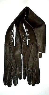 Vintage Brown Kid Leather Opera Gloves ~ Size 7