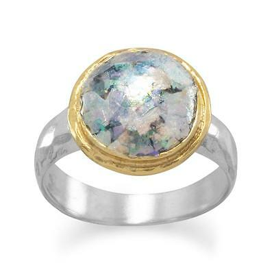 Ancient Roman Glass 18K two tone yellow gold plated Sterling Silver ring