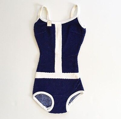 Navy Blue White Deadstock Vintage 1970's Girls' Swimsuit 8 FREE SHIPPING