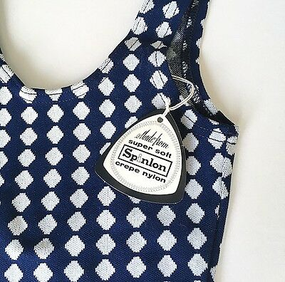 Deadstock 50's 60's Swimsuit 9-10 YRS Navy Blue White FREE SHIPPING