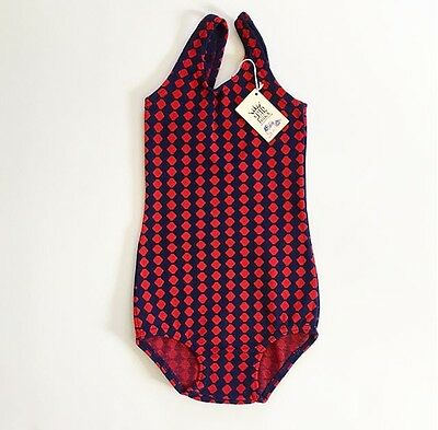 Deadstock 50's 60's Swimsuit 7 YRS Red Navy Blue FREE SHIPPING