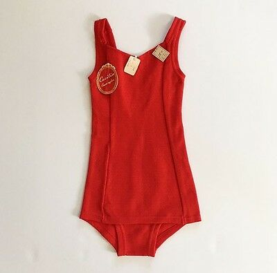 Deadstock 1950's Front Panel Red Girls' Swimsuit Bathing Suit 6 FREE SHIPPING
