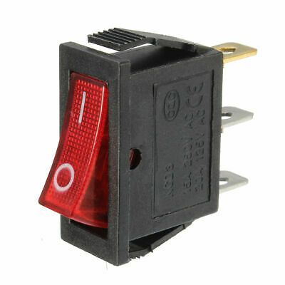 "2x Red LED Light 3-Pin ON/OFF 1/2"" x 1"" Rectangular Rocker Switch AC 15A/250V"