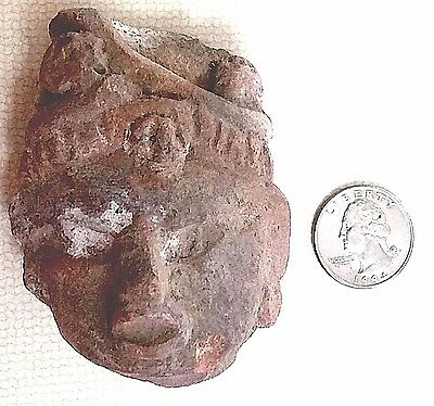 Vintage Taino or Mayan Indian Artifact Pre-Columbian Statue Head or pottery Art