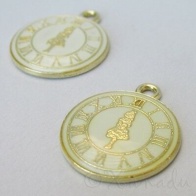 Alice In Wonderland 23mm Enamel Clock Gold Plated Charms C6144-2 5 Or 10PCs