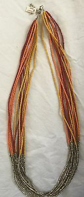 12 Strand Necklace Metal & Polished Beads Heavy 34cm Grad. Bought For $49 Unworn