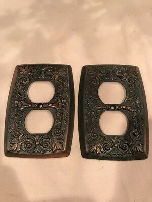 Lot of Two Vintage Holton Prod Ornate Floral Metal Light Switch Plate Covers