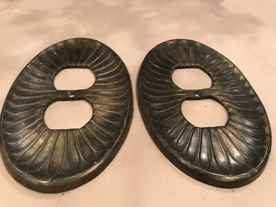Lot of Two Vintage Edmar Ornate Floral Metal Light Outlet Plate Covers