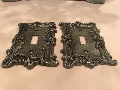 Lot of Two Vintage Ornate Floral Metal Light Switch Plate Covers