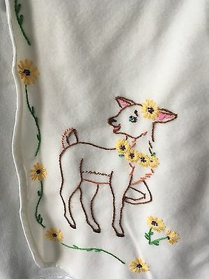 Vintage Embroidered Crewel Style Fawn Bird Bambi Baby Cape
