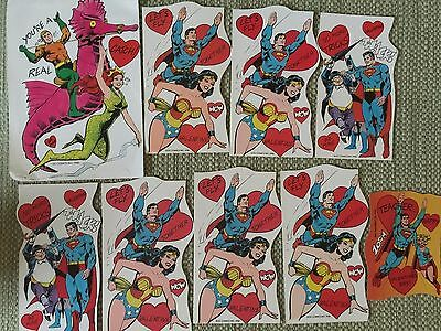 Dc Comics Super Friends Super Powers 9 Piece Valentines Lot 1980 Unused
