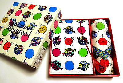 Vivienne Westwood Book cover & Handkerchief Set White Gift BOX ORB Auth New
