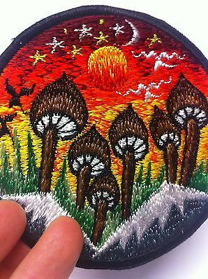 New Sew on Mushroom Hippie Boho Festival Patches  Made in Nepal  9 cm across