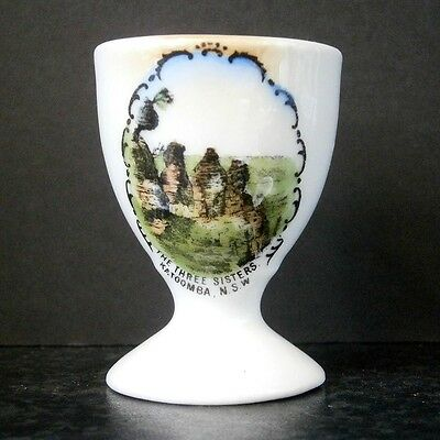ANTIQUE VINTAGE CZECHOSLOVAKIA SCENIC CHINA EGG CUP Three Sisters, Katoomba, NSW