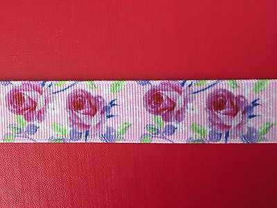 PINK ROSES On PINK Grosgrain RIBBON 22mm X 1 METRE For Craft Hair Gifts Cakes