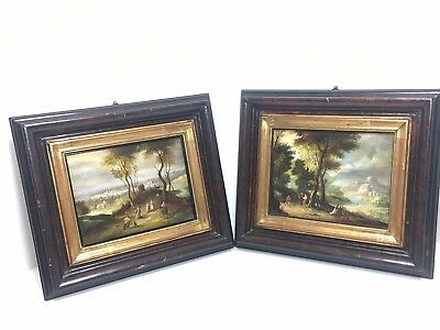 PAIR OF ANTIQUE FRENCH SMALL19th CENTURY FRAMED PAINTINGS on TIN - Signed