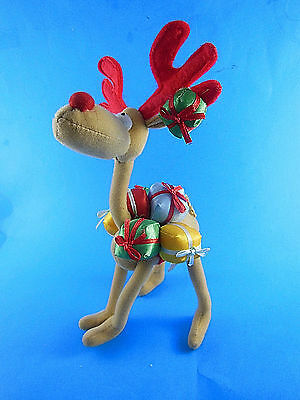 "Christmas Reindeer with packages Cloth over wire Poseable Legs & Neck 10"" tall"