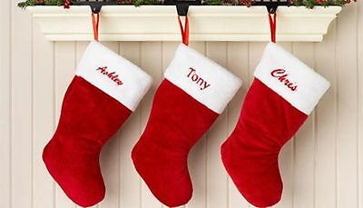 Personalised Embroidered/printed  Christmas Red Stocking