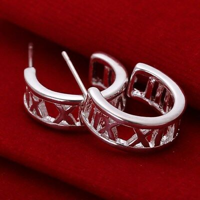 Fashion 925 Silver plated Jewelry Roman Circle Stud Earrings For Women