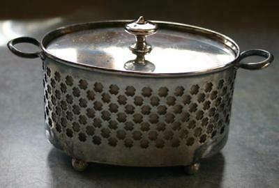 Vintage Silver Plated Condiment container with Lid and Cream Ceramic Liner