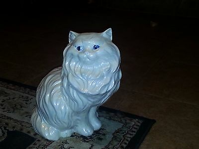 "Vintage Large 14"" White Hand Painted Glazed Ceramic Persian Cat"