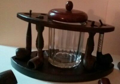2 Vintage  Pipe Stands 1 clear and 1 Amber Humidor With 6 BRIAR Smoking Pipes • $29.99