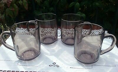 Four Vintage Arcoroc Fume Smokey Glass Tea Coffee Mugs France