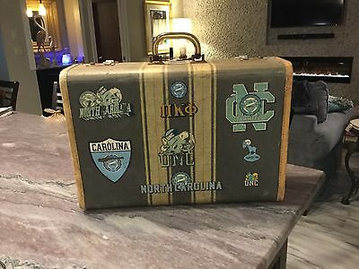 RARE Student University North Carolina Suitcase with UNC Decals vintage 1950's