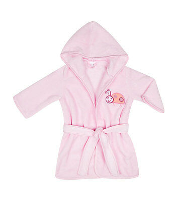 Soft Baby Dressing Gown Bath Robe - pink ladybird emblem for 9-18mths (80-92cm)