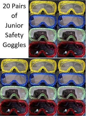 20 vented Junior Safety Goggles for kids for science / colour runs / nerf party