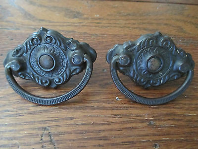 Set of 2 Antique Ornate Brass Oval Handle Pull Drawer Hardware