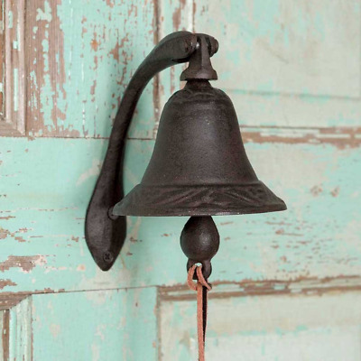 Cast Iron Logan Dinner Bell with Bracket Black Wall mount Clear Loud Tone New