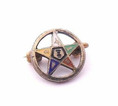 Vintage Masonic Order Of The Eastern Star 925 Sterling Silver Pin Lapel Oes