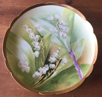 Drop Dead Gorgeous Handpainted Signed Lily Valley Coronet Limoges Cabinet Plate!