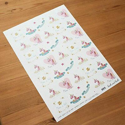 Unicorn Sticker Sheet with 35 Square Stickers Make a Wish I Believe in Unicorns