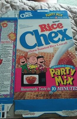 rice Chex cereal box with Peanuts characters