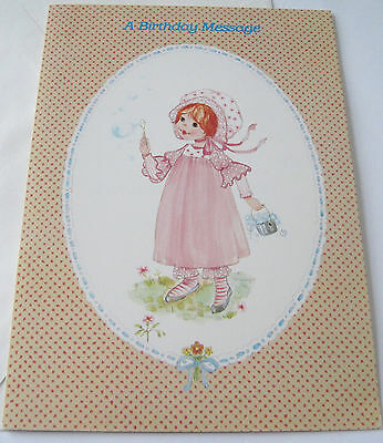 Unused Vtg Birthday Card Cute Old Fashioned Girl In Pink Dress