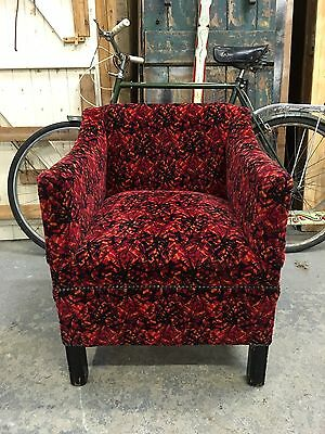 Vintage Retro Antique Tub Chair Upholstered In Bus Seat Moquette Fabric!