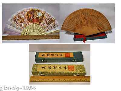 "Fans PAINTED LINEN ""HAND FAN"" & wood Carved - both in boxes"