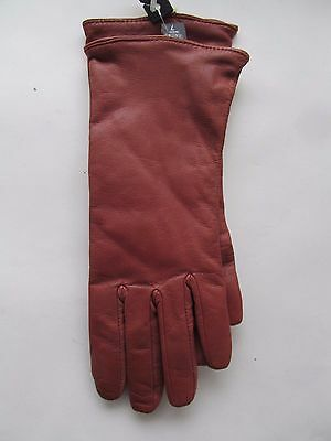 NEW GATES Women's Rust / Chestnut LEATHER Cashmere Lined Driving GLOVES Sz 7