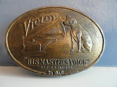 "1970s VICTROLA ""HIS MASTER'S VOICE"" BELT BUCKLE, LEWIS BUCKLES,CHICAGO, EXC+"
