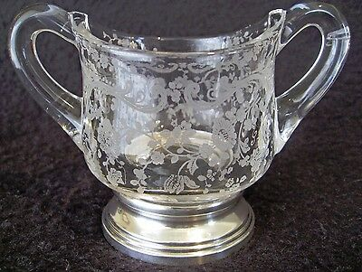 Old Sheffield Sterling Silver & Etched Glass Sugar Bowl Hor D'oeuvres Pick Hldr