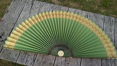 Vintage Folding Fan LARGE Folding Paper Fan Gold and White Side AND Green with G
