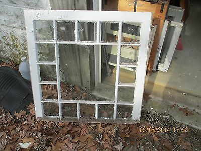 Vintage Antique Clear Glass Window Single Pane Queen Anne Style  29 1/2 X 33 1/2