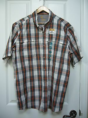 New Carhartt Mens Relaxed Fit Force Vented Plaid Shirt Short Sleeve Size L
