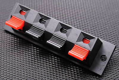 2pc 4 Way Stereo Speaker Plate Terminal Strip Push Release Connector Block - USA
